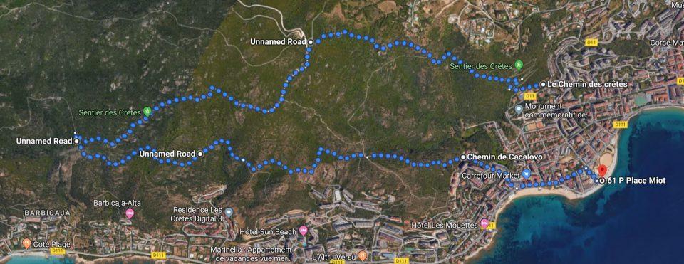 Route Sentier de Crêtes