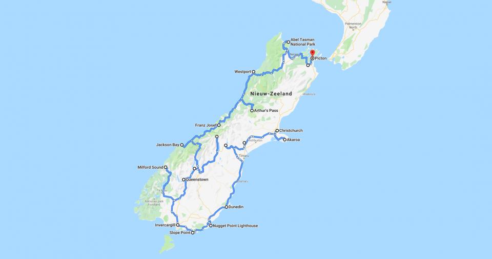 Route Zuidereiland Nieuw Zeeland